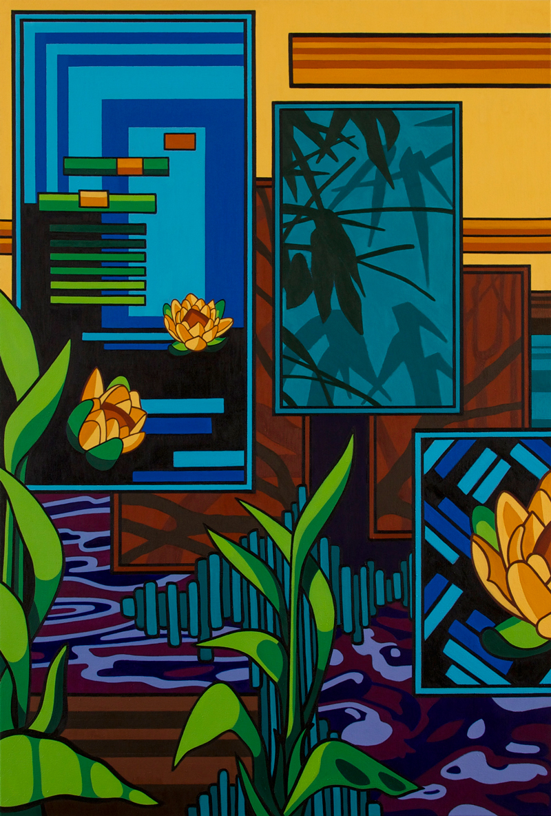 Painting: Pond (diptych - left panel)
